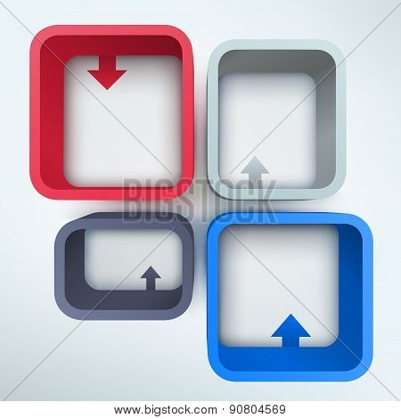 Abstract 3d vector frames with place for text