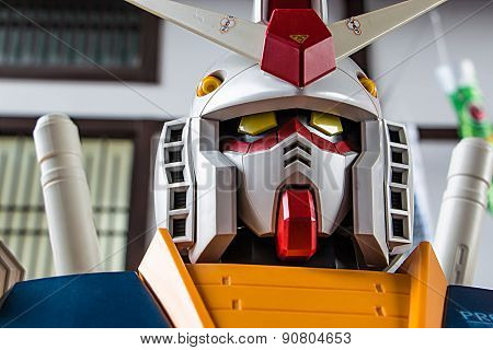 Sriracha, Thailand - May 16: Gundam Anime Figure In Kodomo No Hi @ J-park On 16 May 2015. At J-park