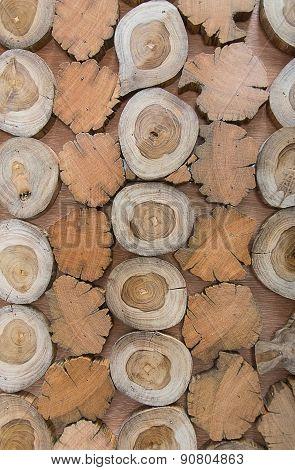 Big wall of stacked cut wood natural