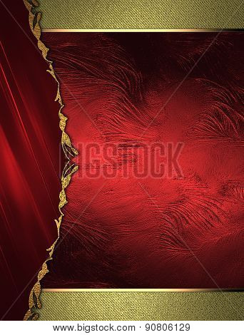 Red Plate On A Gold Background. Design Site