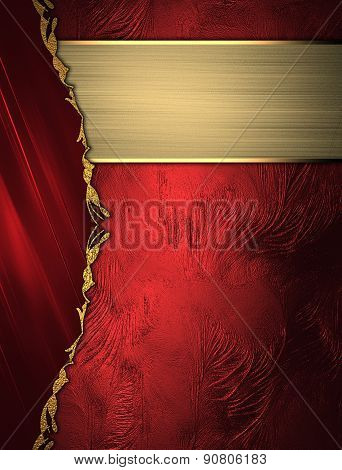 Abstract Red Background With A Gold Border On Red Background With Gold Ribbon. Design Template. Desi