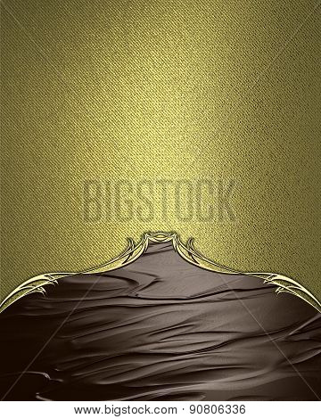 Gold Texture With Brown Edge With Gold Trim. Design Template. Design Site