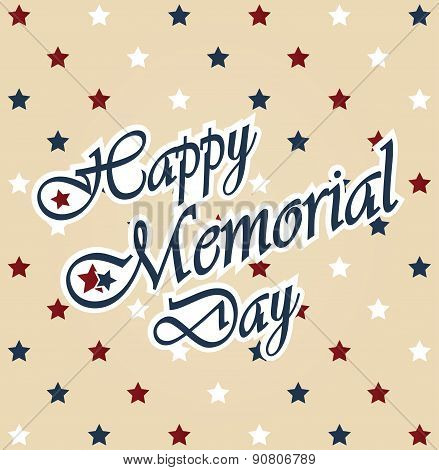 Happy Memorial Day vintage poster. Star background