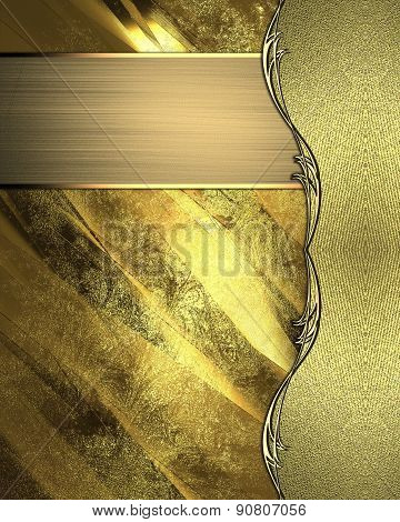 Golden Background With A Gold Edge And Gold Nameplate. Design Template. Design Site.