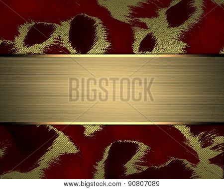 Red Texture With Gold Nameplate. Design Template. Design Site