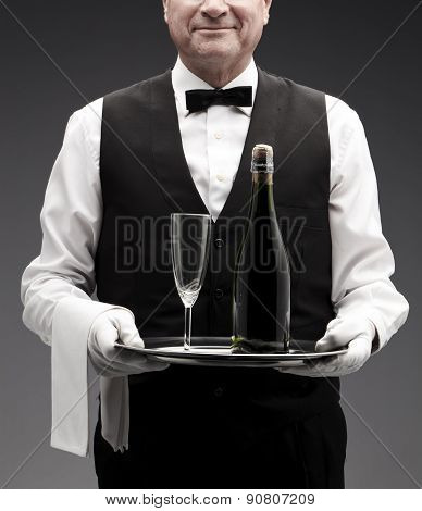 butler and champagne