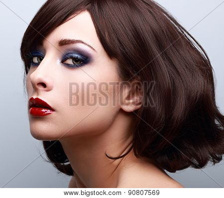 Beautiful Bright Makeup With Blue Eyeshadows. Short Hair Style. Closeup