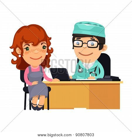 Woman Having Medical Consultation in Doctors Office
