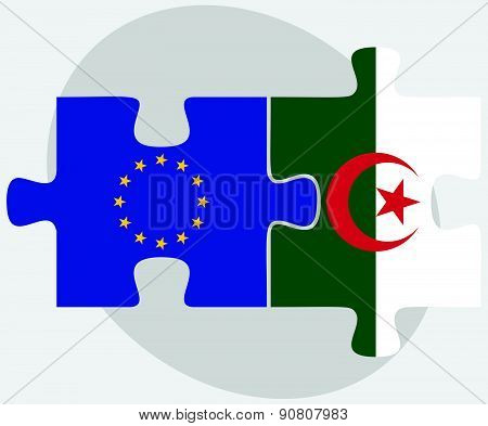 European Union And Algeria Flags In Puzzle  Isolated On White Background