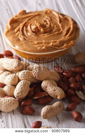 Tasty Peanut Butter In A Bowl Close Up Vertical