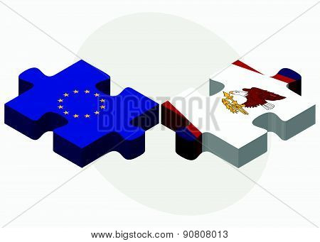 European Union And American Samoa Flags In Puzzle