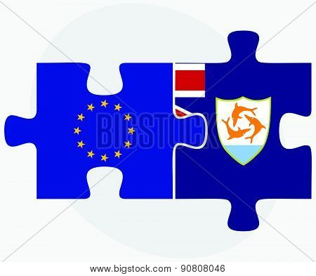 European Union And Anguilla Flags In Puzzle