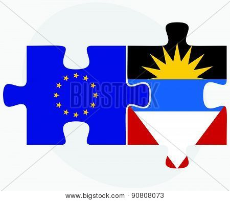 European Union And Antigua And Barbuda Flags In Puzzle