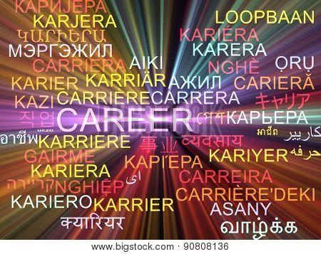 Background concept wordcloud multilanguage international many language illustration of career glowing light
