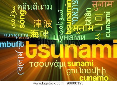 Background concept wordcloud multilanguage international many language illustration of tsunami wave glowing light