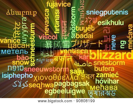 Background concept wordcloud multilanguage international many language illustration of blizzard storm glowing light
