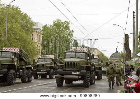 Multiple Rocket Launchers Built Into The Column Outside World To Participate In The Victory Parade.