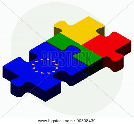 European Union And Benin Flags In Puzzle