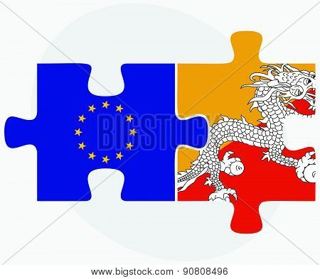 European Union And Bhutan Flags In Puzzle