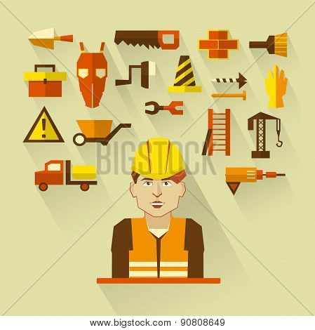 Flat design. Freelance infographic. Construction worker with tools and materials for the repair and