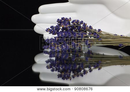 Ceramics Hand And Bunch Of Lavender Flowers
