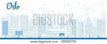 Outline Oslo Skyline with Blue Building. Vector Illustration