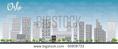 Oslo Skyline with Grey Building and Blue Sky. Vector Illustration