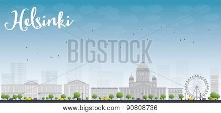 Panorama of Old Town in Helsinki, Finland. Vector Illustration