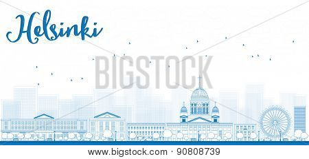 Outline Panorama of Old Town in Helsinki, Finland. Vector Illustration