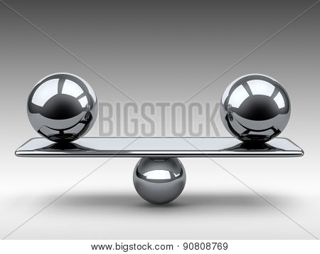 Balance Between Two Large Metallic Spheres.
