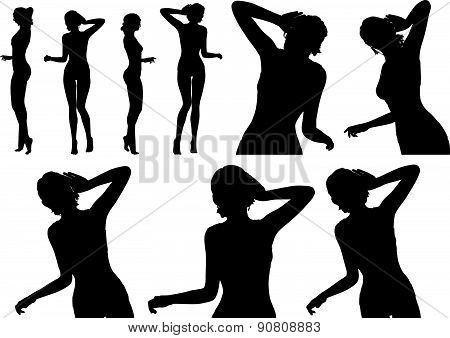Woman Silhouette With Hand Gesture Listen
