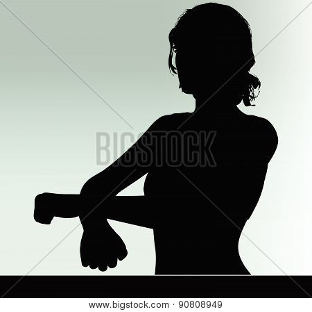 Woman Silhouette With Hand Gesture Handcuffed