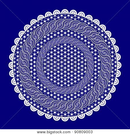White Lace Table Cloth On A Blue Background