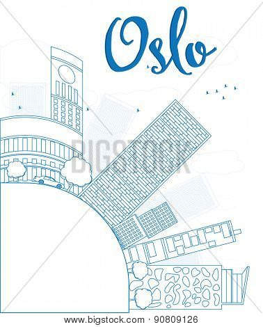 Outline Oslo Skyline with Blue Building and copy space. Vector Illustration