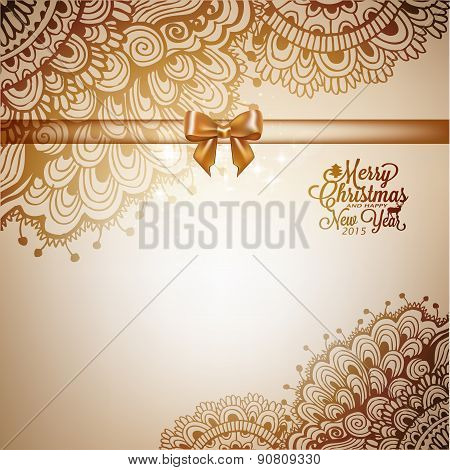 Holiday Background With Doodle And Text