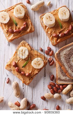 Healthy Food: Sandwiches With Peanut Butter And Banana