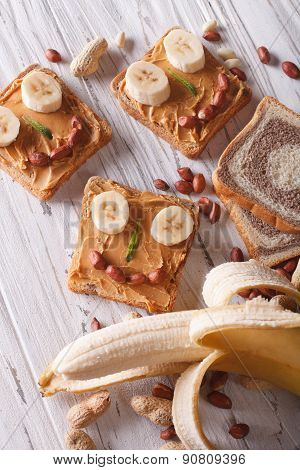 Healthy Sandwiches With Peanut Butter And Banana Close-up