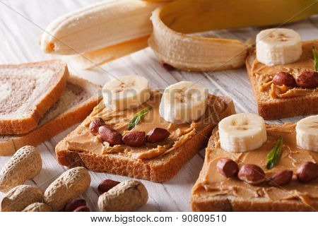 Funny Sandwiches With Peanut Butter And Banana Horizontal