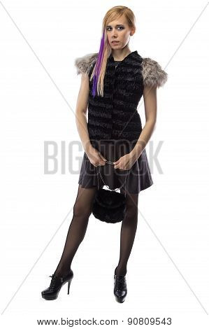 Image of woman in fur jacket with handbag