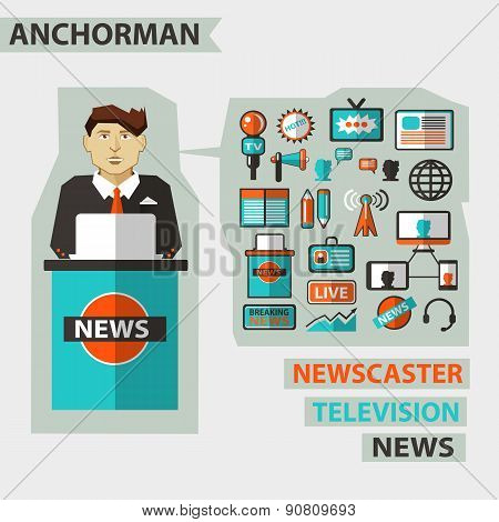 Profession Of People. Flat Infographic. Anchorman