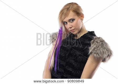 Portrait of shy woman in fur jacket
