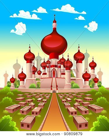 Landscape with Arabian castle. Vector cartoon illustration