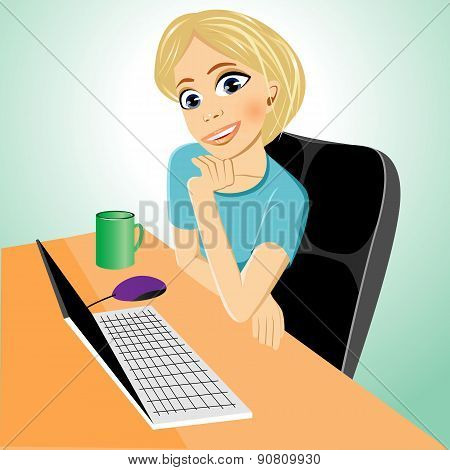 business woman at table with laptop