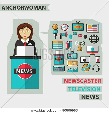 Profession Of People. Flat Infographic. Anchorwoman