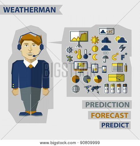 Profession Of People. Flat Infographic. Weatherman