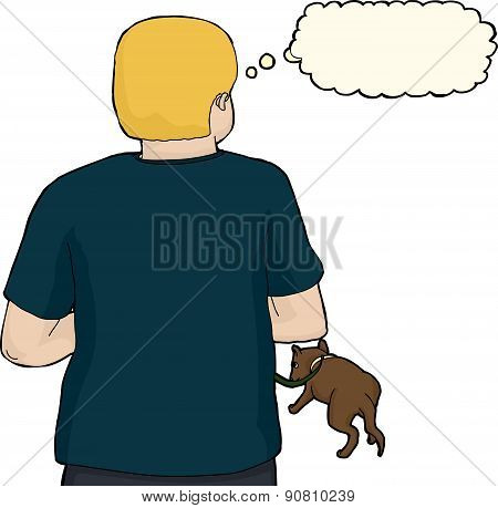 Isolated Blond Man With Dog