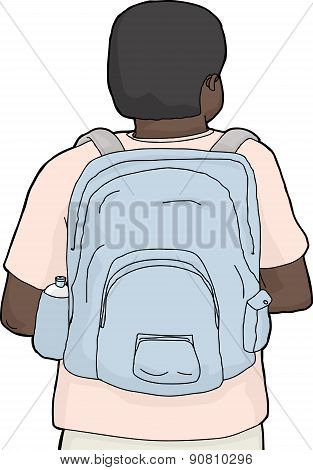 Isolated Person Wearing Backpack