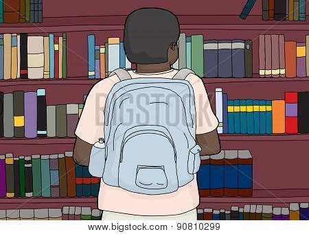 Black Person With Backpack At Library
