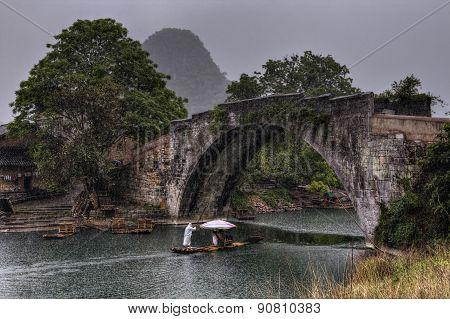 Dragon Bridge Over Yulong River, Yangshuo, Guilin, Guangxi Province, China.