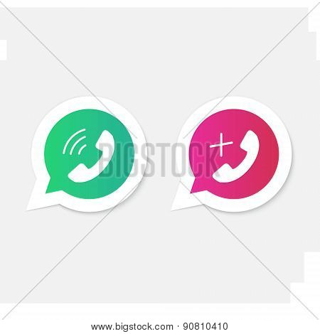 Phone handset icons in speech bubbles.